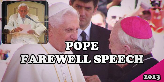 Pope farewell speech