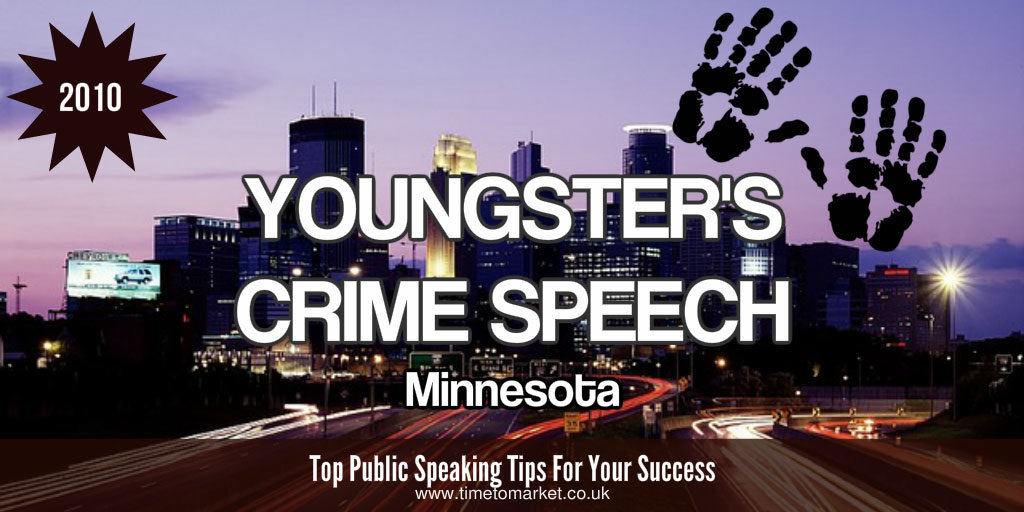 Youngster's crime speech